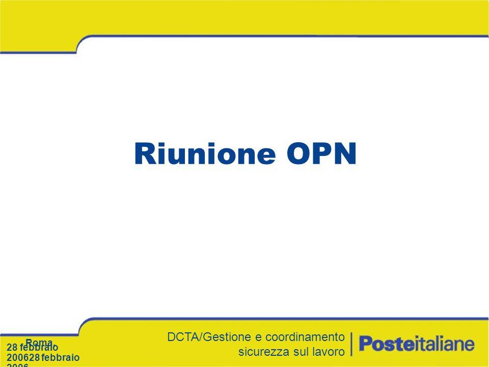 Riunione OPN DCTA/Gestione e coordinamento sicurezza sul lavoro