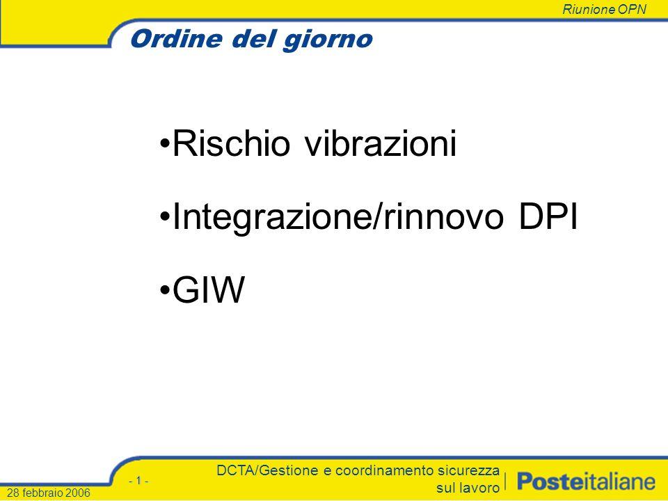 Integrazione/rinnovo DPI GIW