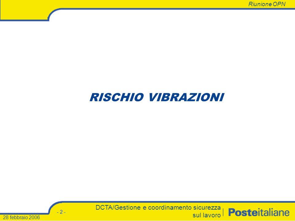 RISCHIO VIBRAZIONI DCTA/Gestione e coordinamento sicurezza sul lavoro