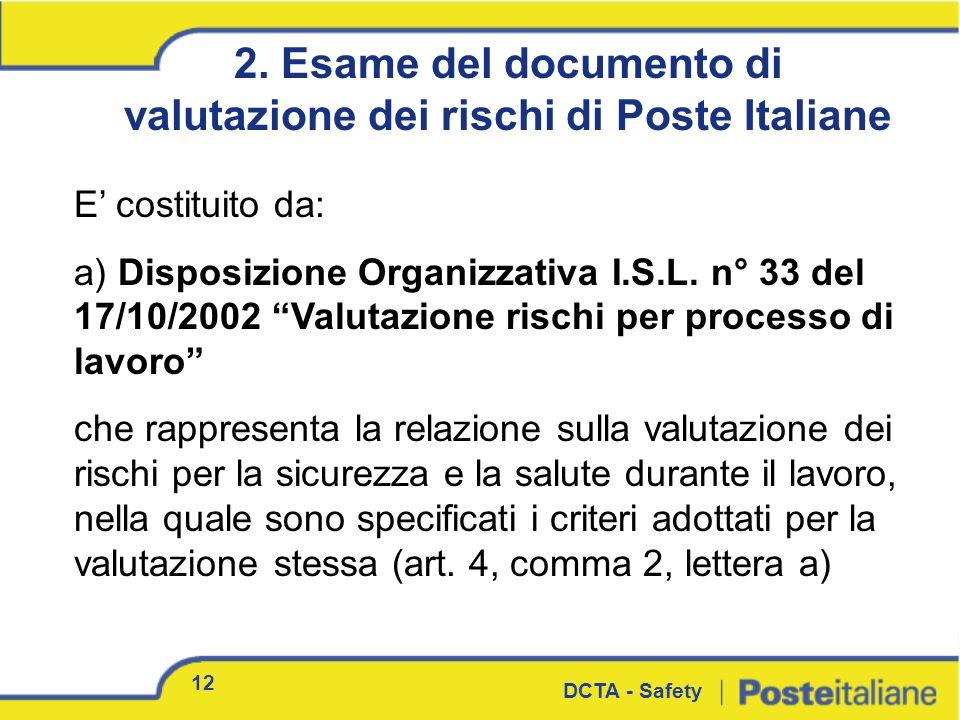 2. Esame del documento di valutazione dei rischi di Poste Italiane