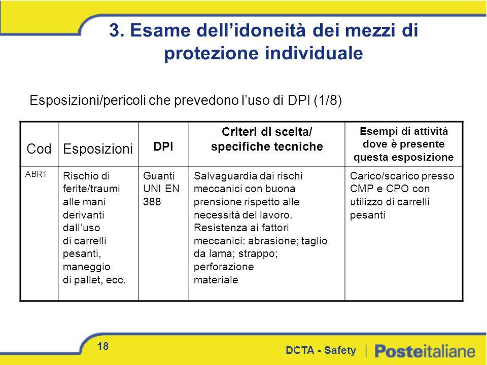 3. Esame dell'idoneità dei mezzi di protezione individuale