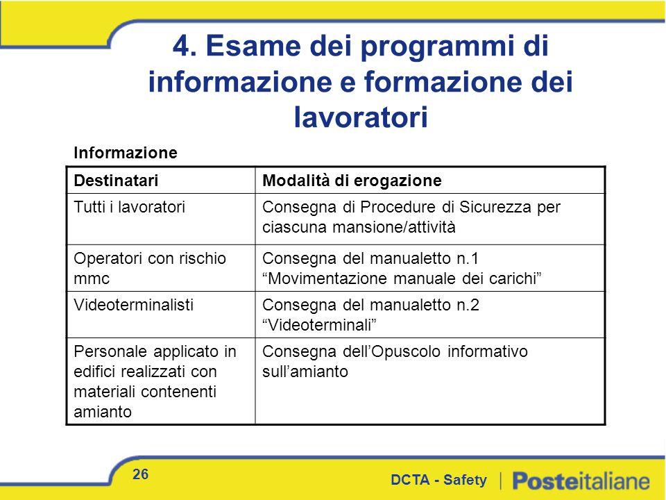 4. Esame dei programmi di informazione e formazione dei lavoratori