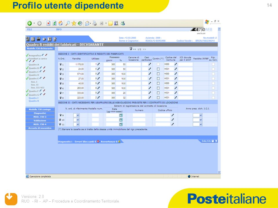 Profilo utente dipendente