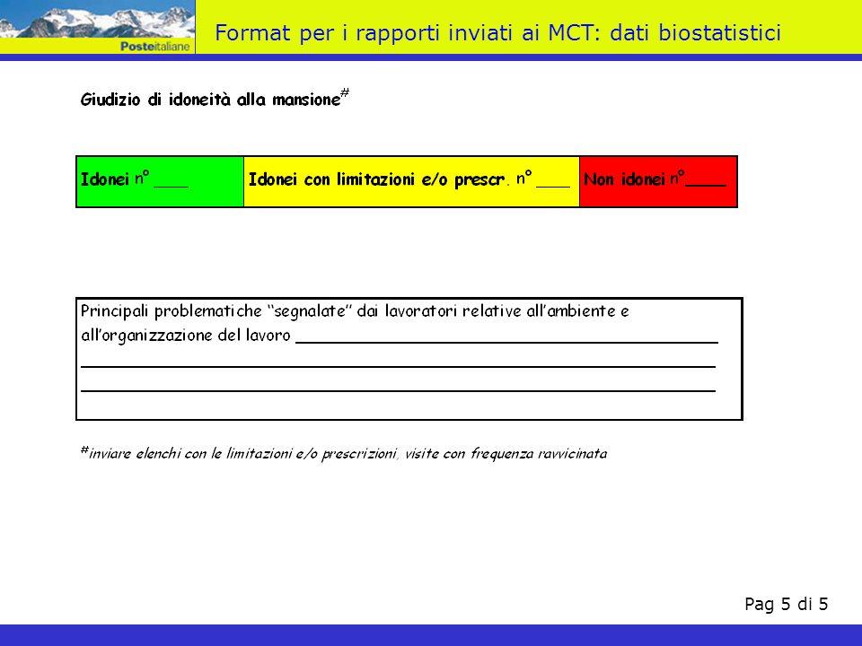 Format per i rapporti inviati ai MCT: dati biostatistici