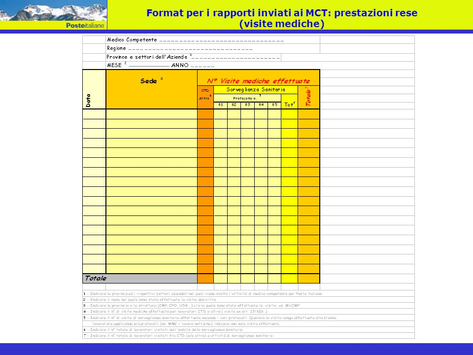 Format per i rapporti inviati ai MCT: prestazioni rese