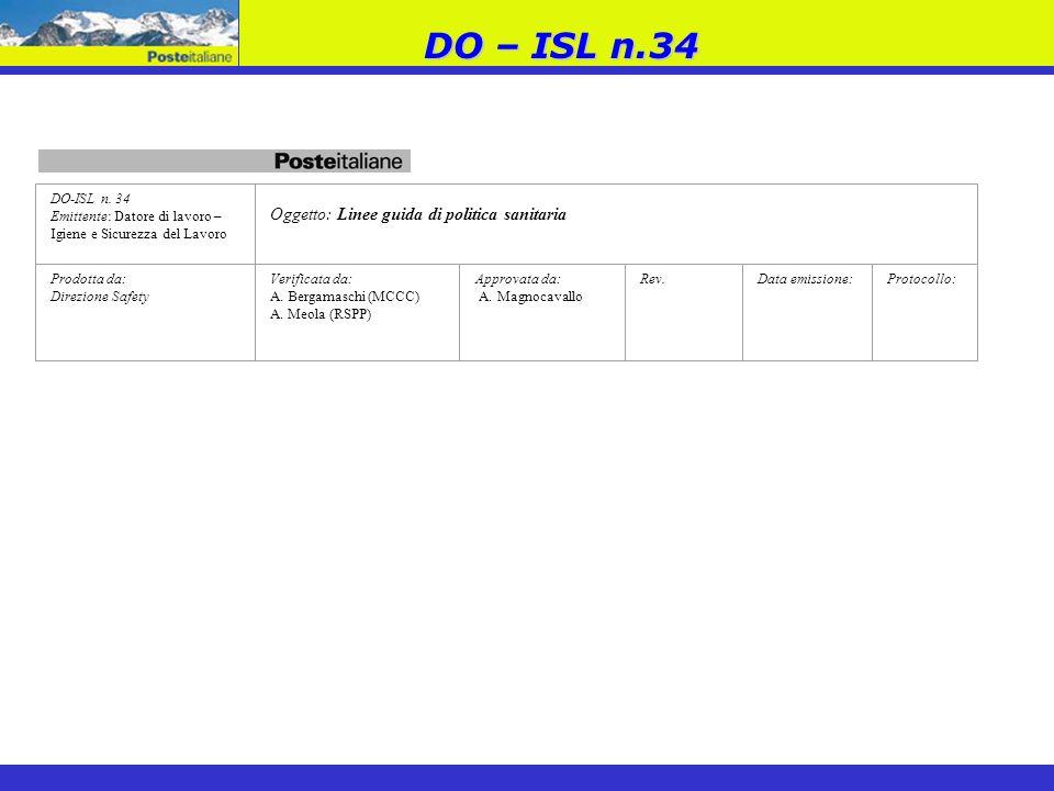 DO – ISL n.34 Oggetto: Linee guida di politica sanitaria DO-ISL n. 34