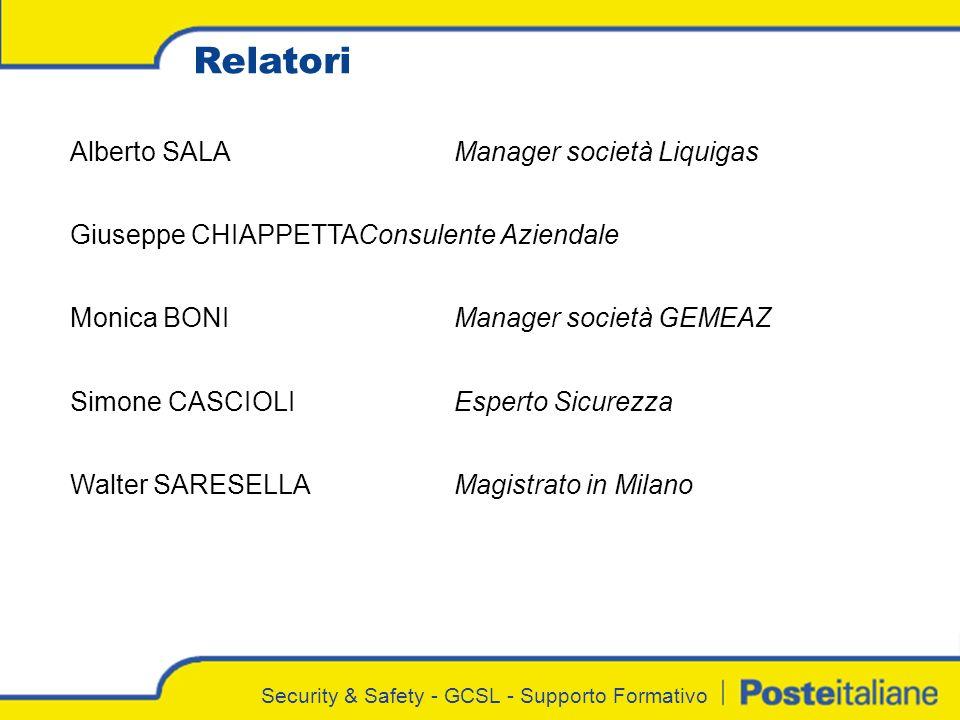 Relatori Alberto SALA Manager società Liquigas
