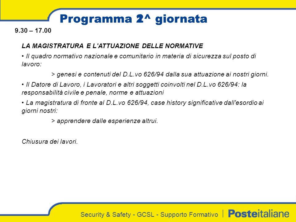 Programma 1^ giornata Programma 2^ giornata 9.30 – 17.00