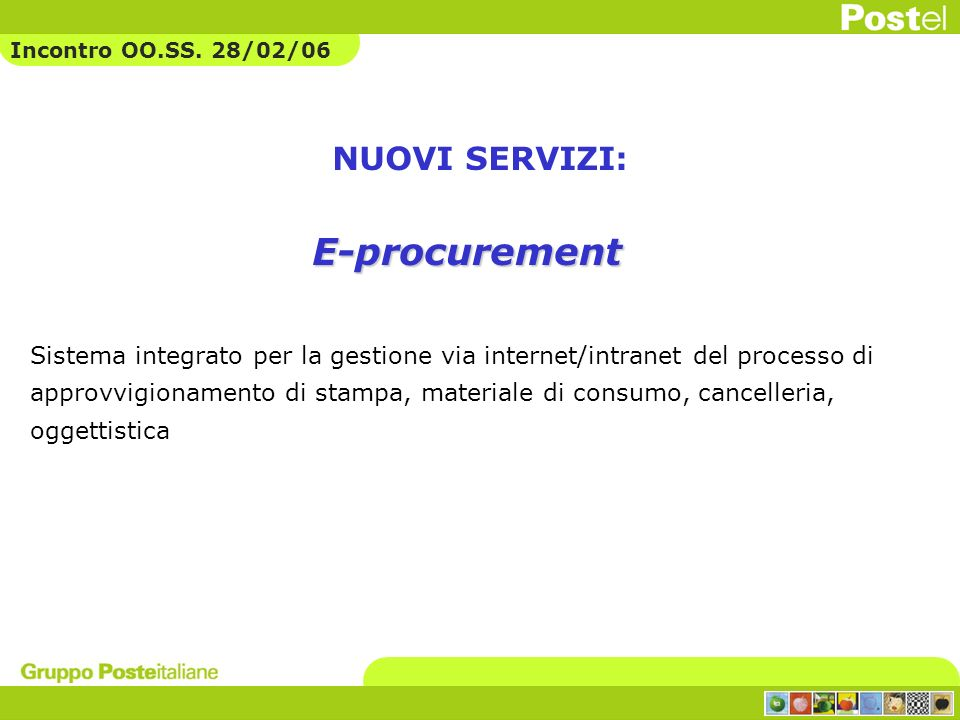 E-procurement NUOVI SERVIZI:
