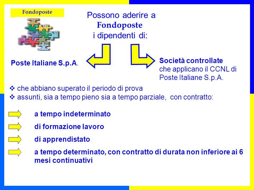 i dipendenti di: Possono aderire a Fondoposte Poste Italiane S.p.A.