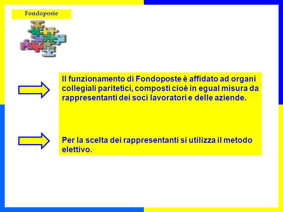 Il funzionamento di Fondoposte è affidato ad organi collegiali paritetici, composti cioè in egual misura da rappresentanti dei soci lavoratori e delle aziende.