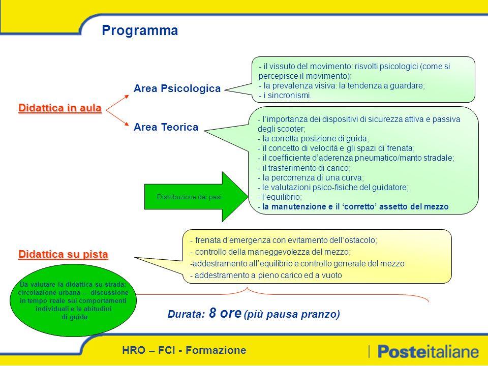 Programma Area Psicologica Didattica in aula Area Teorica