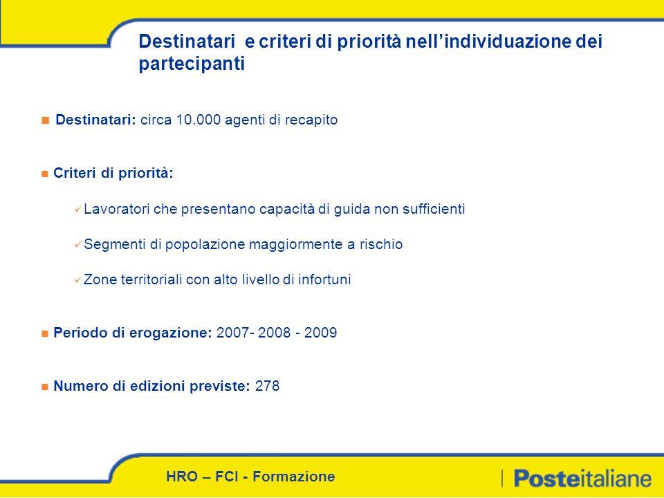Destinatari e criteri di priorità nell'individuazione dei partecipanti