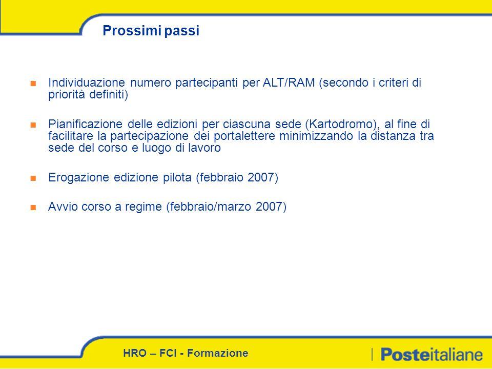 Prossimi passi Individuazione numero partecipanti per ALT/RAM (secondo i criteri di priorità definiti)