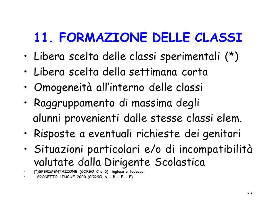 11. FORMAZIONE DELLE CLASSI