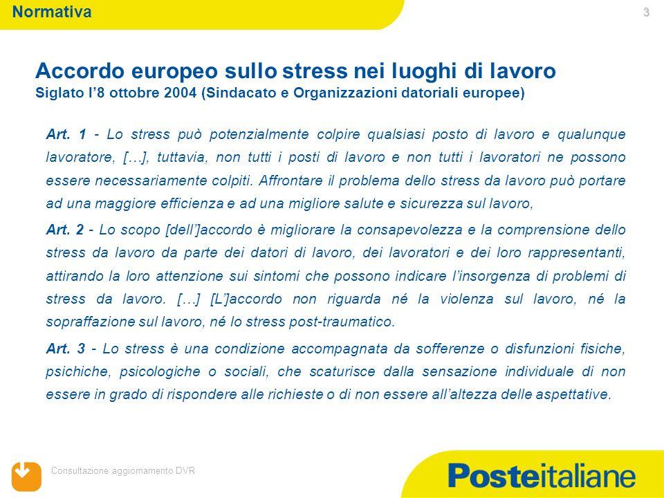 Accordo europeo sullo stress nei luoghi di lavoro