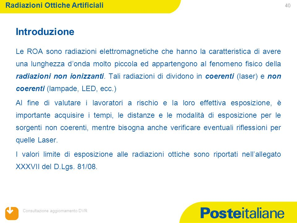 Introduzione Radiazioni Ottiche Artificiali