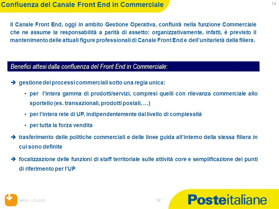 Confluenza del Canale Front End in Commerciale