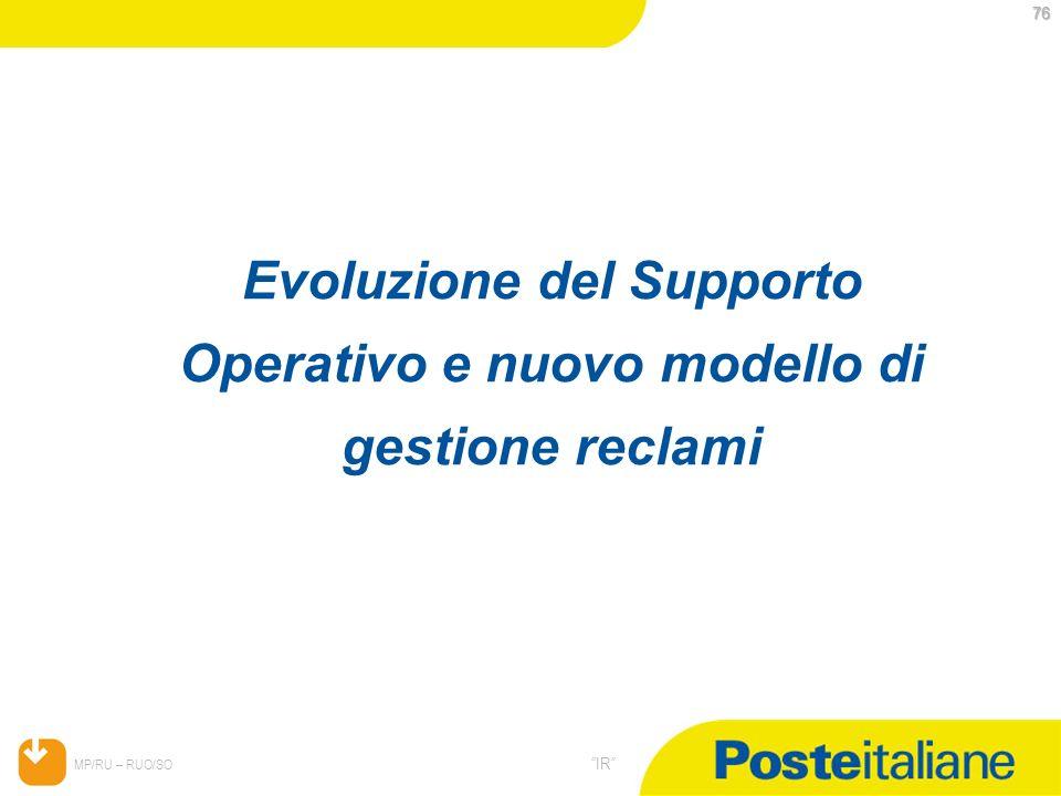 Evoluzione del Supporto Operativo e nuovo modello di gestione reclami