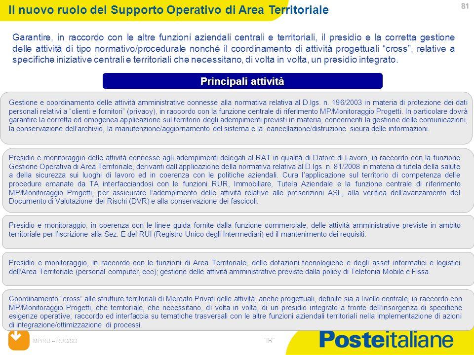 Il nuovo ruolo del Supporto Operativo di Area Territoriale
