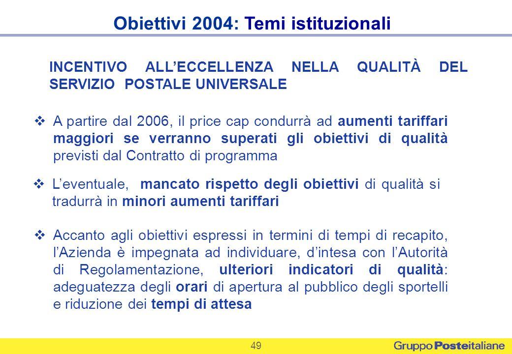 Obiettivi 2004: Temi istituzionali