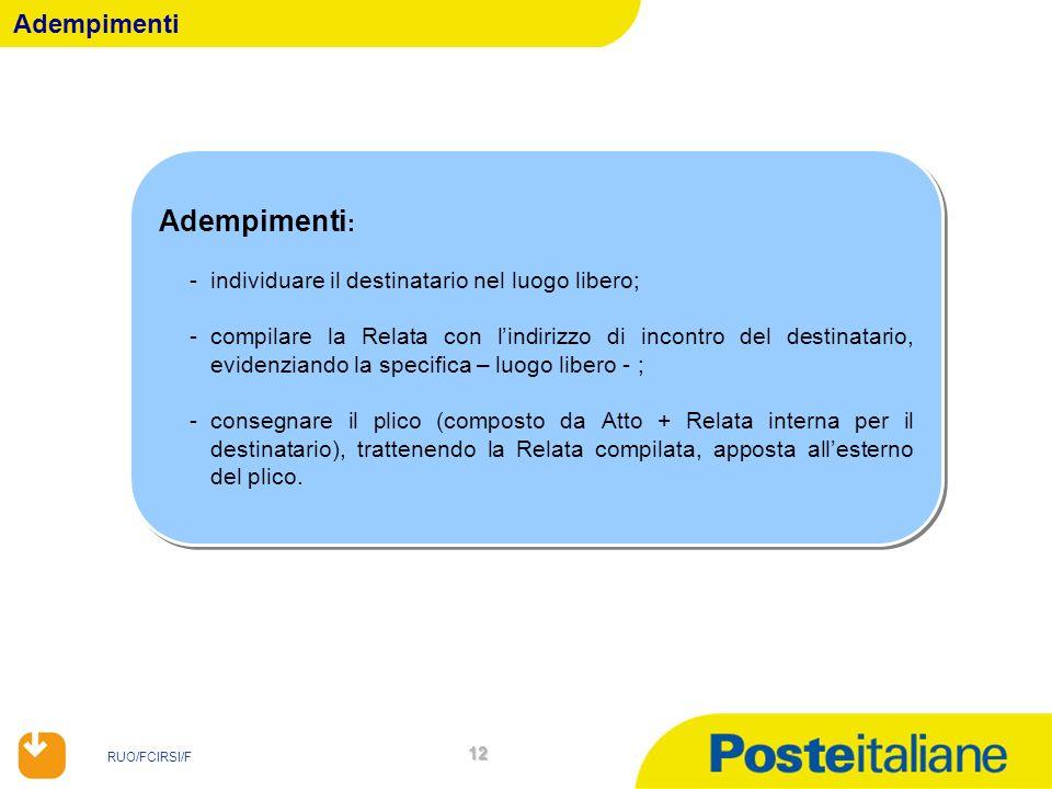 Adempimenti: Adempimenti individuare il destinatario nel luogo libero;