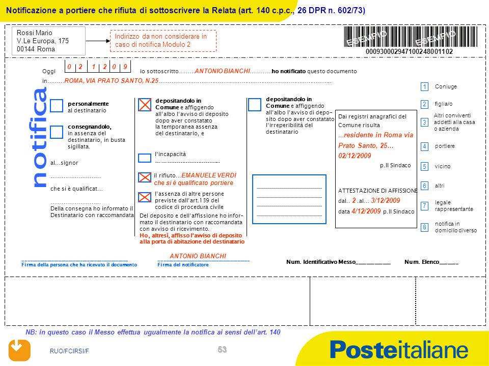 Notificazione a portiere che rifiuta di sottoscrivere la Relata (art