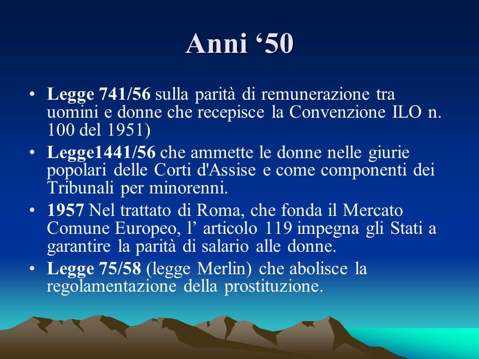 Anni '50Legge 741/56 sulla parità di remunerazione tra uomini e donne che recepisce la Convenzione ILO n. 100 del 1951)