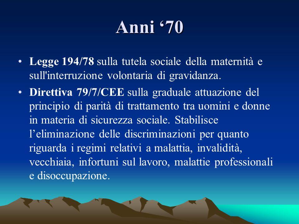 Anni '70Legge 194/78 sulla tutela sociale della maternità e sull interruzione volontaria di gravidanza.