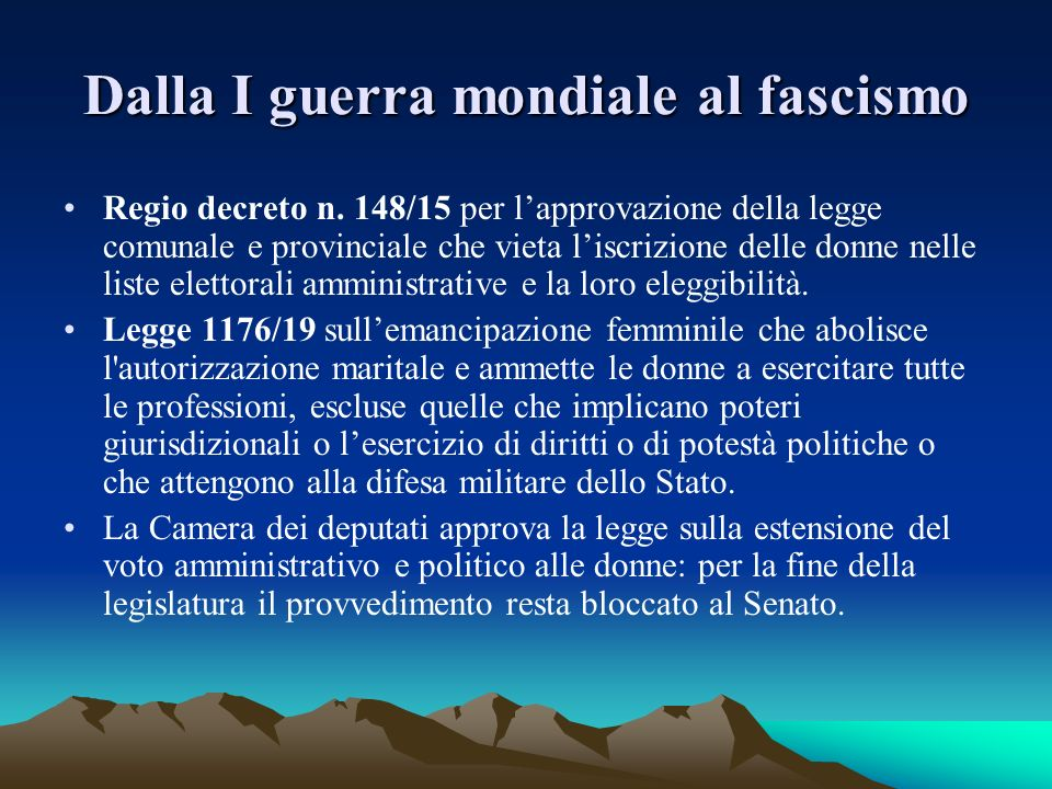 Dalla I guerra mondiale al fascismo