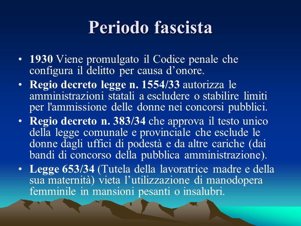Periodo fascista 1930 Viene promulgato il Codice penale che configura il delitto per causa d'onore.