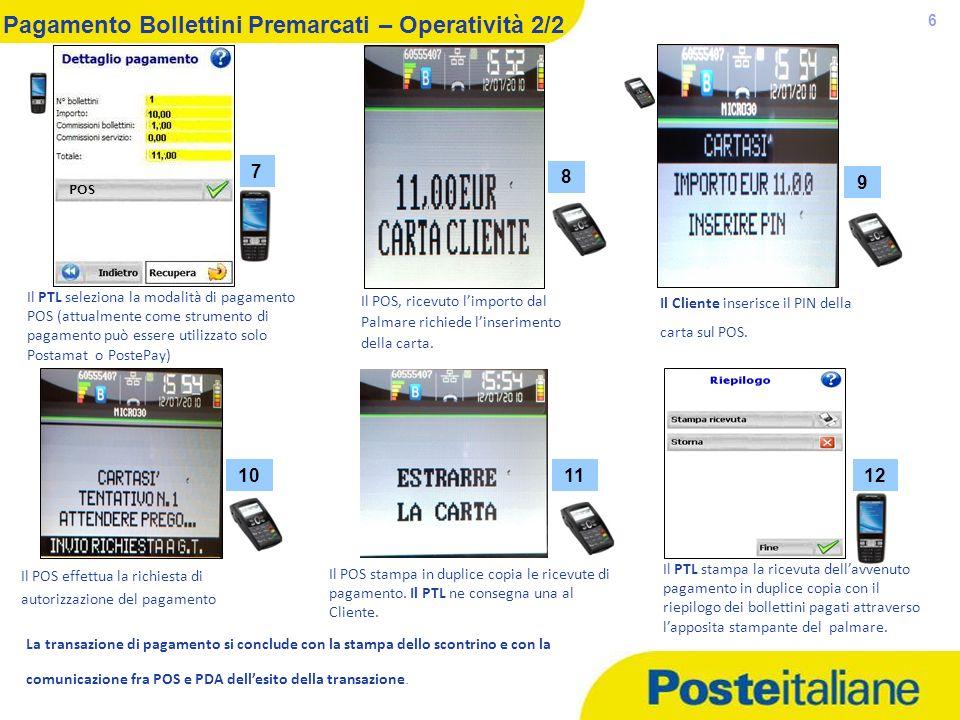 Pagamento Bollettini Premarcati – Operatività 2/2