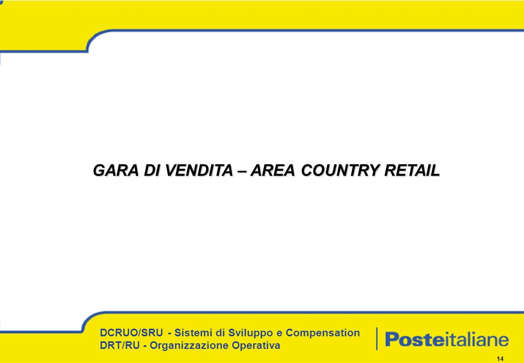 GARA DI VENDITA – AREA COUNTRY RETAIL