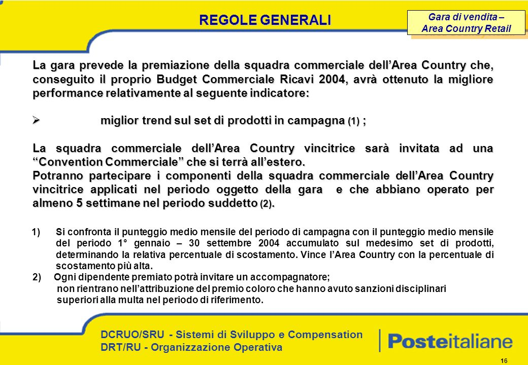 REGOLE GENERALI Gara di vendita – Area Country Retail.