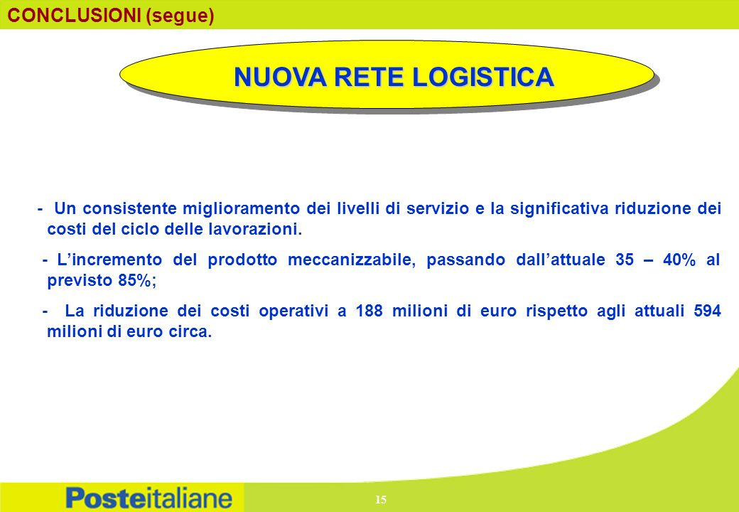 NUOVA RETE LOGISTICA CONCLUSIONI (segue)