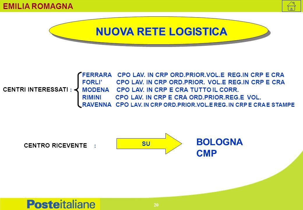 NUOVA RETE LOGISTICA BOLOGNA CMP EMILIA ROMAGNA
