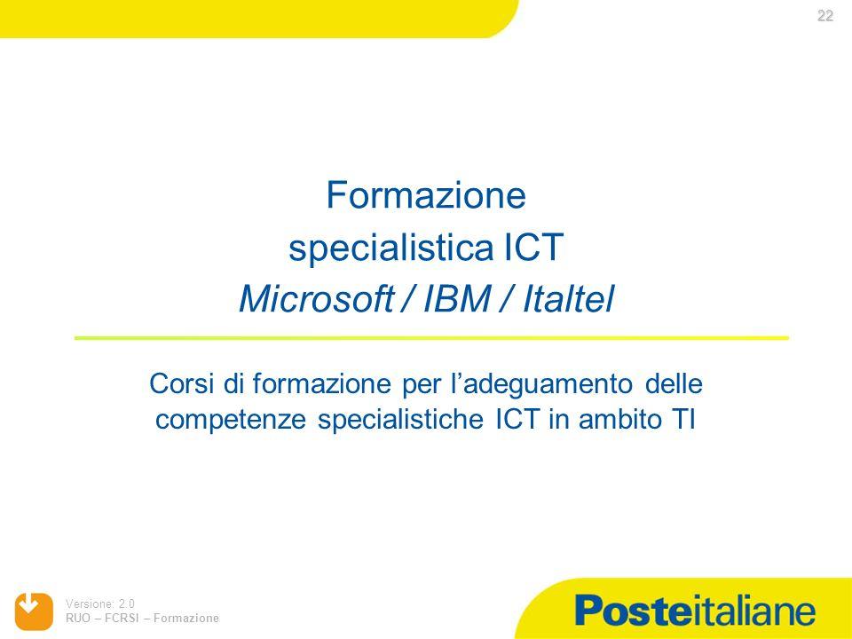 Formazione specialistica ICT Microsoft / IBM / Italtel