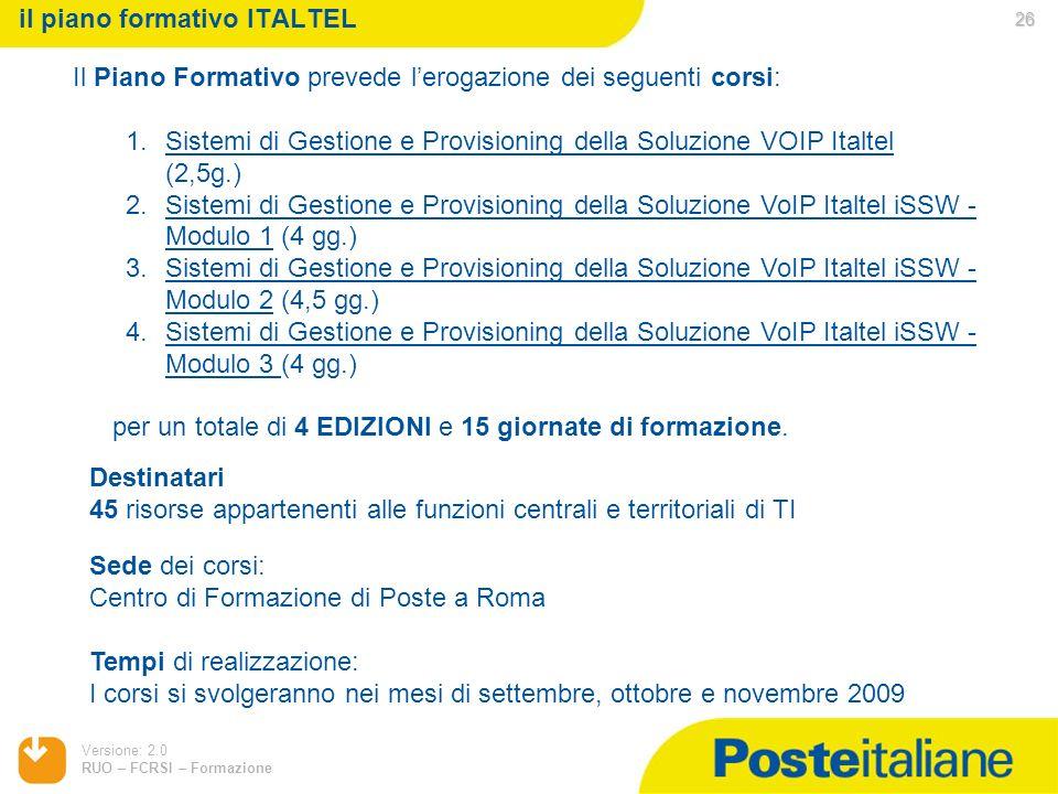 il piano formativo ITALTEL