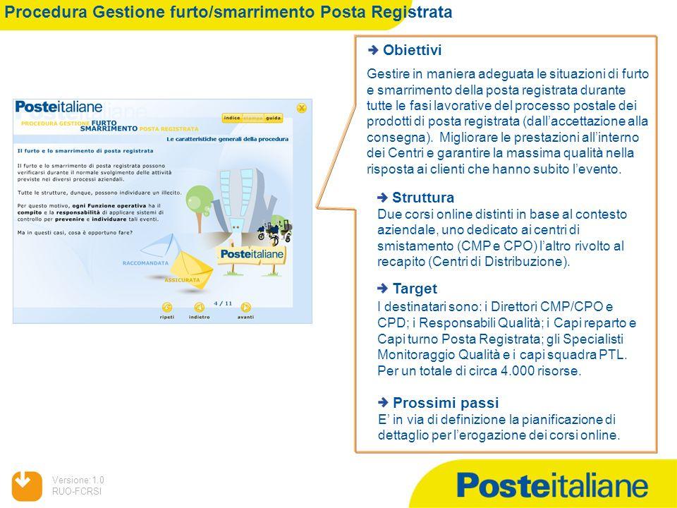 Procedura Gestione furto/smarrimento Posta Registrata