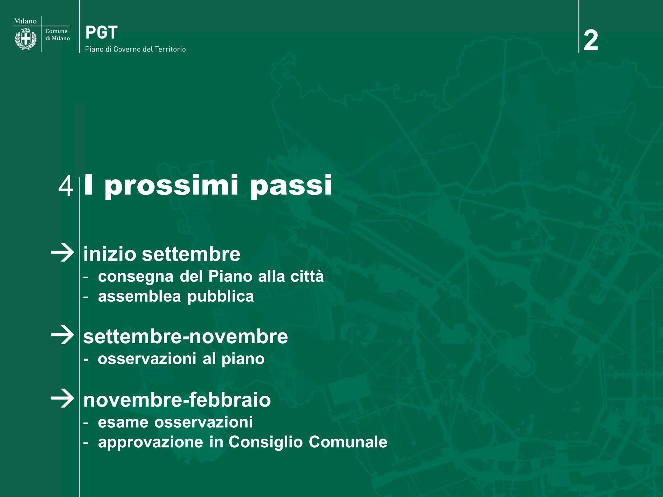 2 I prossimi passi 4 inizio settembre settembre-novembre