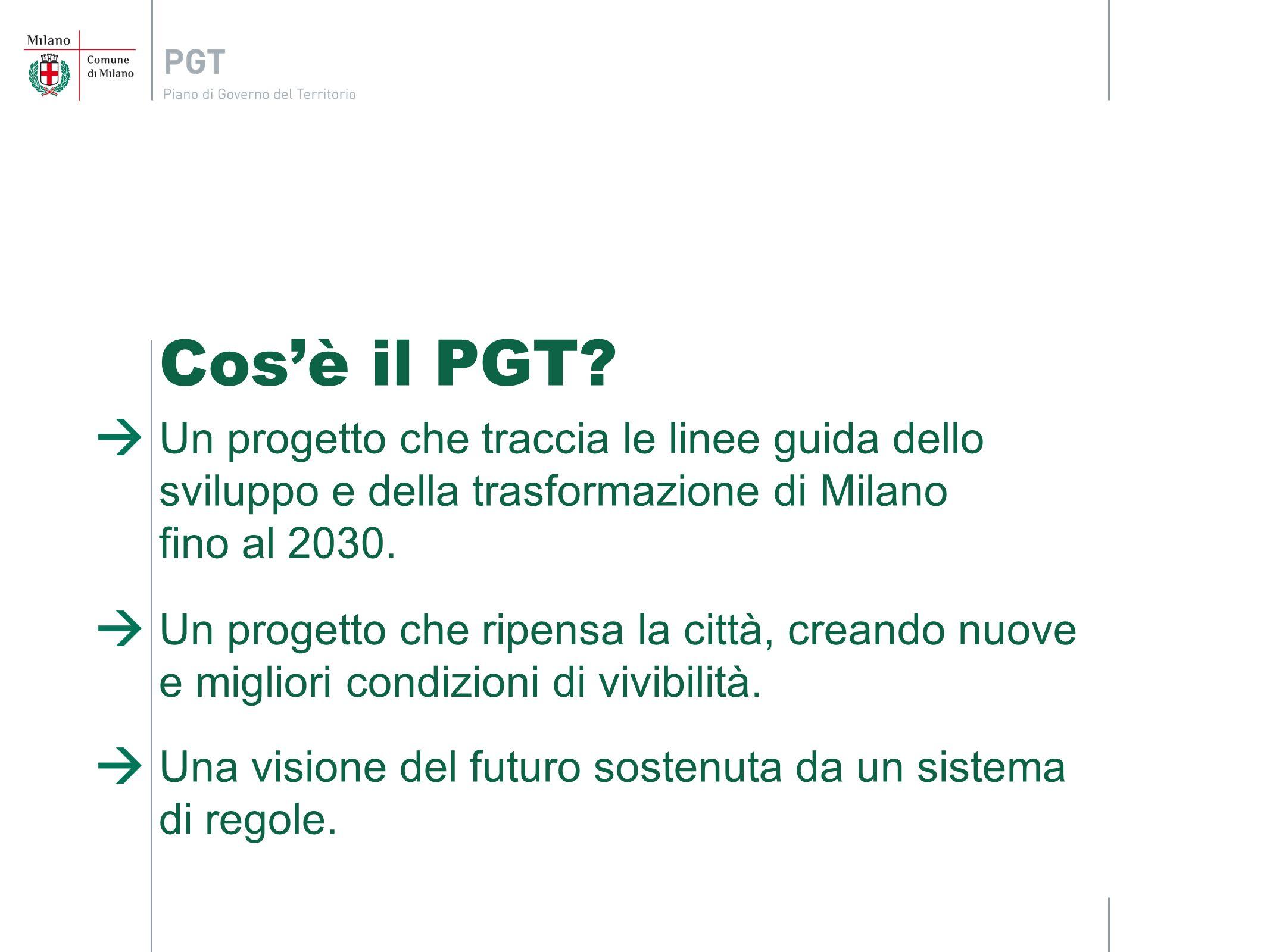 Cos'è il PGT Un progetto che traccia le linee guida dello sviluppo e della trasformazione di Milano fino al 2030.