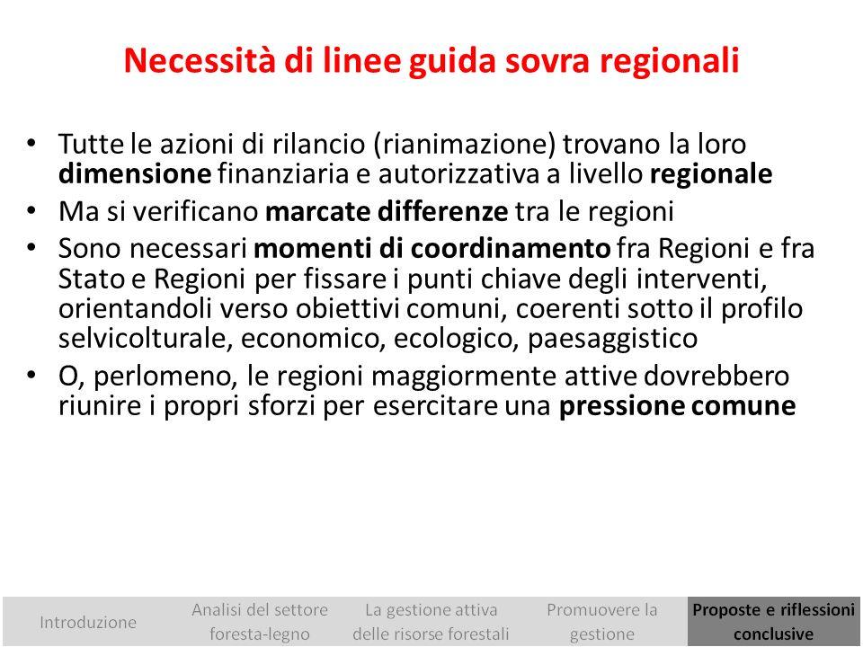 Necessità di linee guida sovra regionali