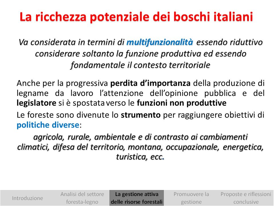 La ricchezza potenziale dei boschi italiani
