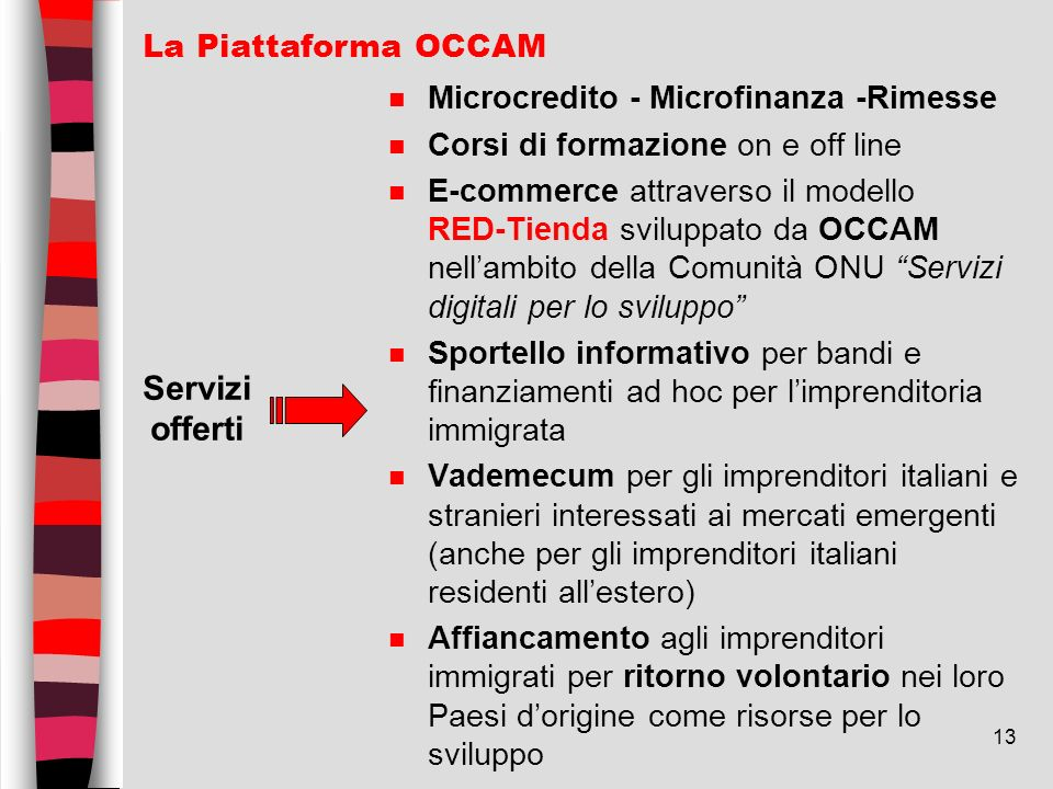 Servizi offerti La Piattaforma OCCAM
