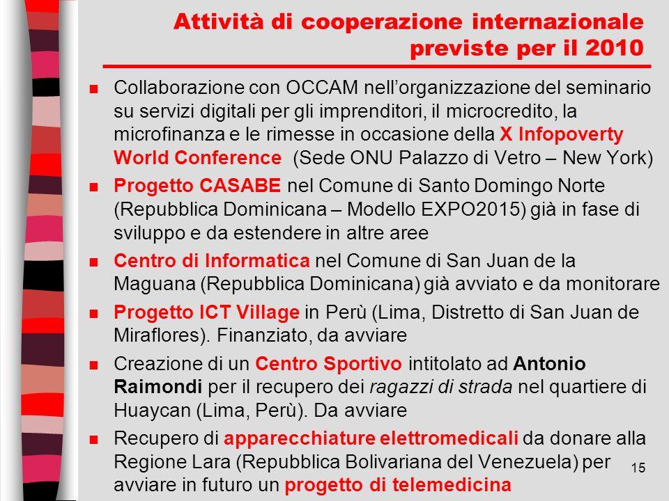 Attività di cooperazione internazionale previste per il 2010