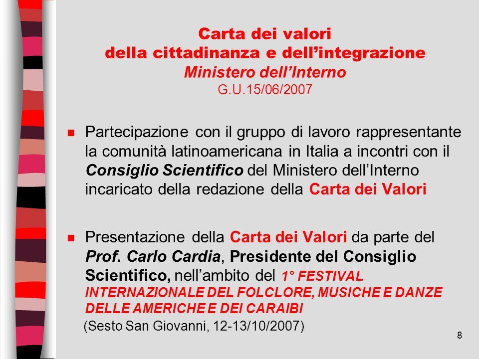 Carta dei valori della cittadinanza e dell'integrazione Ministero dell'Interno G.U.15/06/2007