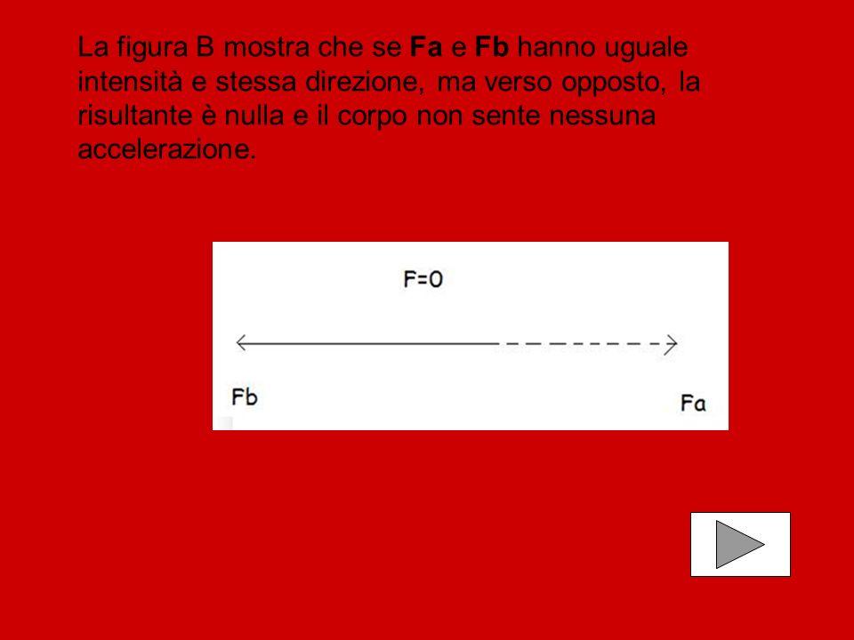 La figura B mostra che se Fa e Fb hanno uguale intensità e stessa direzione, ma verso opposto, la risultante è nulla e il corpo non sente nessuna accelerazione.