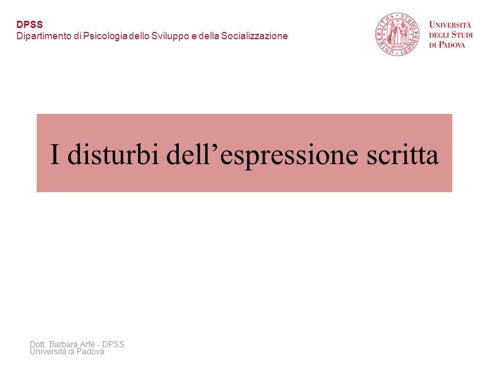 I disturbi dell'espressione scritta