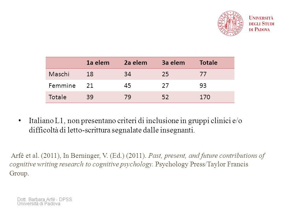 Italiano L1, non presentano criteri di inclusione in gruppi clinici e/o difficoltà di letto-scrittura segnalate dalle insegnanti.