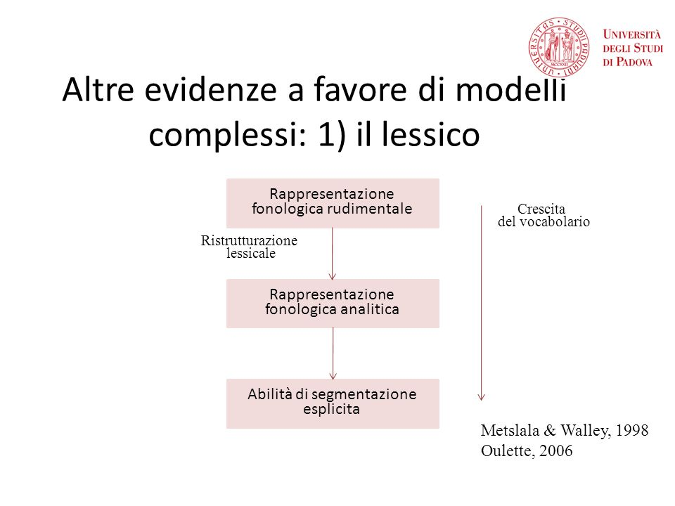 Altre evidenze a favore di modelli complessi: 1) il lessico